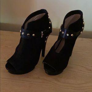 Black suede Michael Kors ankle peep toe bootie